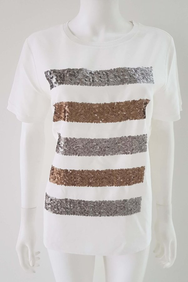 T-shirt met Strass Pailletten van Marc Aurel